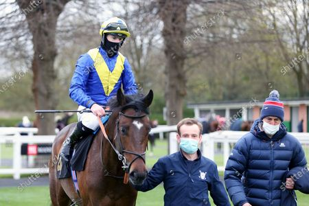 ASTRO KING (4), on the far side, ridden by Richard Kingscote and trained by Sir Michael Stoute enter the Winners Enclosure after winning the Class 3 Download The Mansionbet App Handicap over 1m at Nottingham Racecourse, Nottingham