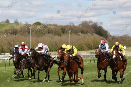 Stock Picture of BATRAAN (9) ridden by Gavin Ashton and trained by Roger Varian winning the Mansionbet Watch And Bet Handicap over 5f  at Nottingham Racecourse, Nottingham