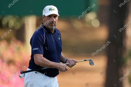 Jose Maria Olazabal, of Spain, prepares to hit on the 10th hole during a practice round for the Masters golf tournament, in Augusta, Ga