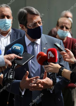 Cyprus' president Nikos Anastasiades speaks to the press during a visit to the Cyprus Expo Vaccination Center in Nicosia. Cyprus, Wednesday, April 7, 2021. Today, the President will meet with health experts to assess the Covid-19 situation.