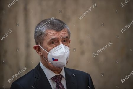 Czech Prime Minister Andrej Babis speaks to media during a press conference after meeting with newly appointed Czech Health Minister Petr Arenberger  (unseen), in Prague, Czech Republic, 07 April 2021. Former Health Minister Jan Blatny was removed on 07 April 2021 after about five months in the office by the President Zeman at the request of the Prime Minister Andrej Babis. According to Czech Ministry of Health, more than 27,300 people have died in the Czech Republic since the beginning of the epidemic of COVID-19 disease caused by the SARS-CoV-2. In contrast, the daily numbers of newly confirmed positive cases continue to decline.