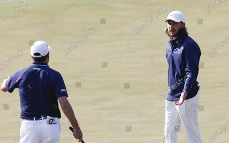 Golfers Jose Maria Olazabal of Spain (L) and Tommy Fleetwood of England (R) talk during a practice round at the 2021 Masters Tournament at the Augusta National Golf Club in Augusta, Georgia, USA, 07 April 2021. The 2021 Masters Tournament is being held 08 April through 11 April 2021.