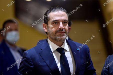 Lebanese Prime Minister-designate Saad Hariri waits to welcome Egyptian Foreign Minister Sameh Shoukry before their meeting at his house in Beirut, Lebanon, 07 April 2021. Shoukry arrived in Beirut for an official visit during which he will meet with Lebanese officials.