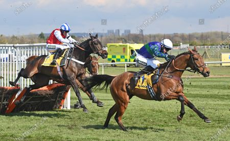 (R) Thyme Hill (Tom O'Brien) takes the last before going on to win The Ryanair Stayers Hurdle Race.Photo © Hugh Routledge.