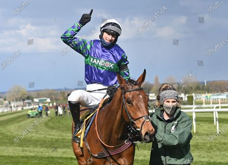 Thyme Hill and jockey, Tom O'Brien after winning The Ryanair Stayers Hurdle Race.Photo © Hugh Routledge.