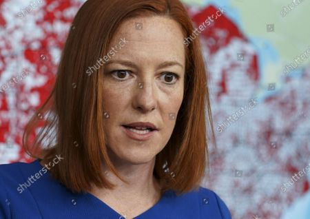 Jen Psaki, White House press secretary, speaks during a news conference in the James S. Brady Press Briefing Room at the White House in Washington, D.C. on Wednesday, April 7, 2021. Press Secretary Psaki took questions about the border wall, COVID-19, and the treatment of Alexei Navalny.