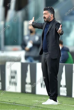 Napoli's coach Gennaro Gattuso reacts during the Italian Serie A soccer match Juventus FC vs SSC Napoli at the Allianz Stadium in Turin, Italy, 07 April 2021.