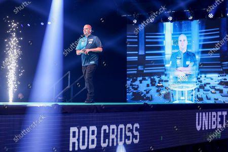 Rob Cross walks onto the stage during the Unibet PDC Premier League of darts at Marshalls Arena, Stadium MK, Milton Keynes