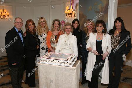 Dr. George Eisenbarth, Barbara Davis and friends Raquel Welch, Alana Stewart, Nancy and Dana Davis, Joanna Poitier, Jackie Collins and Anjelica Huston