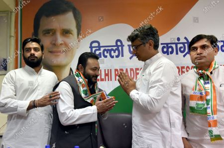 Stock Photo of DPCC president Ch. Anil Kumar welcomes Join the congress Party prominent Poorvanchali leaders of NCP Rana Sujit Singh, and JDU and Aam Aadmi Party into Delhi Congress at at the DPCC office, Rajiv Bhawan in New Delhi, India on Wednesday. April 7, 2021,
