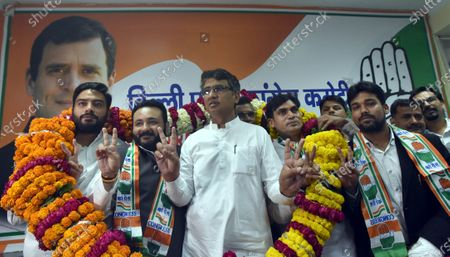 DPCC president Ch. Anil Kumar welcomes Join the congress Party prominent Poorvanchali leaders of NCP Rana Sujit Singh, and JDU and Aam Aadmi Party into Delhi Congress at at the DPCC office, Rajiv Bhawan in New Delhi, India on Wednesday. April 7, 2021,