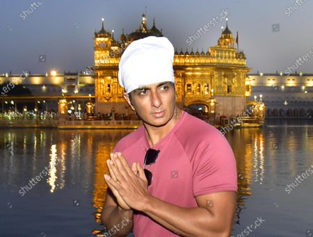 Stock Photo of Actor Sonu Sood pays obeisance at Golden Temple  on April 7, 2021 in Amritsar, India.