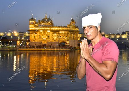 Actor Sonu Sood pays obeisance at Golden Temple  on April 7, 2021 in Amritsar, India.