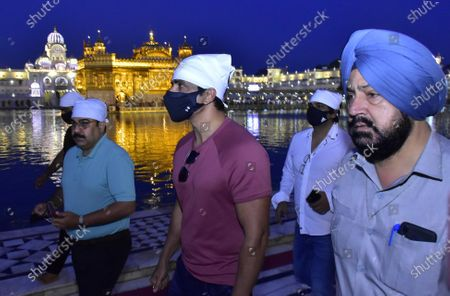 Stock Image of Actor Sonu Sood pays obeisance at Golden Temple  on April 7, 2021 in Amritsar, India.