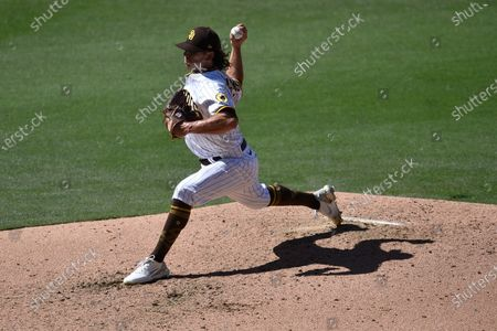 San Diego Padres relief pitcher Taylor Williams delivers a pitch during the sixth inning of a baseball game against the San Francisco Giants in San Diego