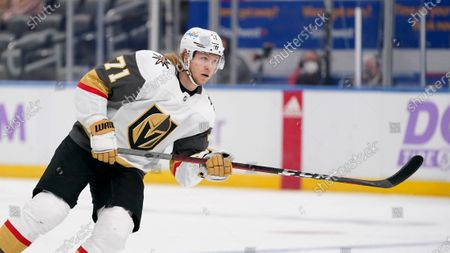 Vegas Golden Knights' William Karlsson in action during the first period of an NHL hockey game against the St. Louis Blues, in St. Louis