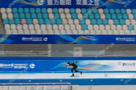 Chinese skater Yahefu Aipeierding competes in the men's 1000 meter race during a test event for the 2022 Beijing Winter Olympics at the National Speed Skating Oval in Beijing, . The organizers of the 2022 Beijing Winter Olympics has started 10 days of testing for several sport events in five different indoor venues from April 1-10, becoming the first city to hold both the Winter and Summer Olympics