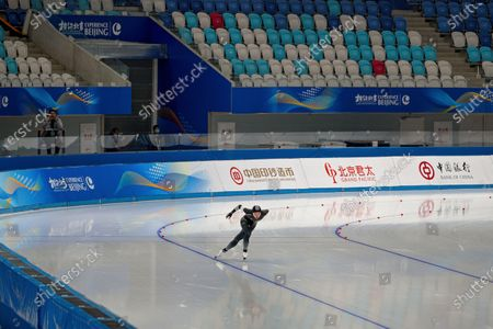 Chinese skater Gao Yueminghao competes in the men's 1000 meter race during a test event for the 2022 Beijing Winter Olympics at the National Speed Skating Oval in Beijing, . The organizers of the 2022 Beijing Winter Olympics has started 10 days of testing for several sport events in five different indoor venues from April 1-10, becoming the first city to hold both the Winter and Summer Olympics