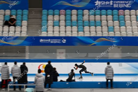 Chinese skater Wang Hao competes in the men's 1000 meter race during a test event for the 2022 Beijing Winter Olympics at the National Speed Skating Oval in Beijing, . The organizers of the 2022 Beijing Winter Olympics has started 10 days of testing for several sport events in five different indoor venues from April 1-10, becoming the first city to hold both the Winter and Summer Olympics