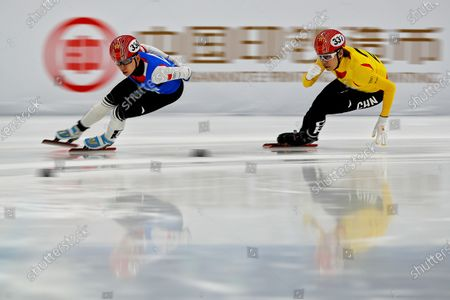 Stock Picture of Chinese skaters compete in the men's 1000 meters short track speed skating race during a test event for the 2022 Beijing Winter Olympics at the Capital Indoor Stadium in Beijing, . The organizers of the 2022 Beijing Winter Olympics has started 10 days of testing for several sport events in five different indoor venues from April 1-10, becoming the first city to hold both the Winter and Summer Olympics