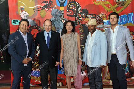 "Stock Photo of Doze Green, Prince Albert, Princess Caroline, Torik Ablack ""Toxic"" and Jean-Thierry Besins"
