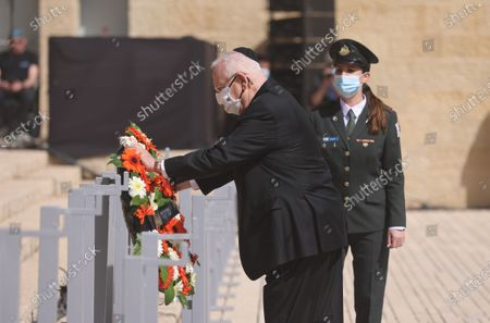 Israeli President Reuven Rivlin attends a wreath-laying ceremony marking the Holocaust Remembrance Day at Warsaw Ghetto Square in Jerusalem's Yad Vashem memorial on 08 April 2021.