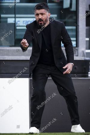 Napoli coach Gennaro Gattuso gestures during the Serie A football match n.3 JUVENTUS - NAPOLI on April 07, 2021 at the Allianz Stadium in Turin, Piedmont, Italy. Final result: Juventus-Napoli 2-1.