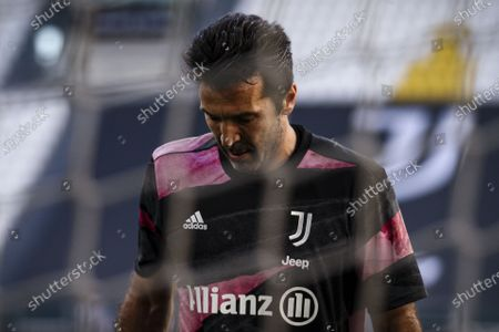 Juventus goalkeeper Gianluigi Buffon (77) warms up before the Serie A football match n.3 JUVENTUS - NAPOLI on April 07, 2021 at the Allianz Stadium in Turin, Piedmont, Italy. Final result: Juventus-Napoli 2-1.