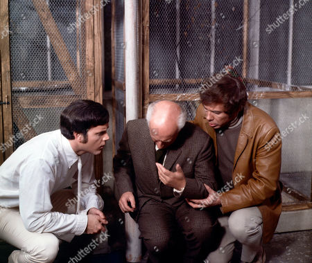 Marty Hopkirk, as played by Kenneth Cope, Laverick, as played by Cyril Luckham, and Jeff Randall, as played by Mike Pratt