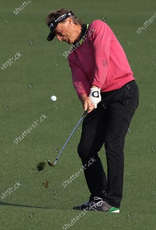 Stock Picture of Bernhard Langer of Germany on the second fairway during the first round of the 2021 Masters Tournament at the Augusta National Golf Club in Augusta, Georgia, USA, 06 April 2021. The 2021 Masters Tournament is held 08 April through 11 April 2021.