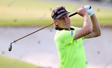 Bernhard Langer of Germany on the third tee during the first round of the 2021 Masters Tournament at the Augusta National Golf Club in Augusta, Georgia, USA, 06 April 2021. The 2021 Masters Tournament is held 08 April through 11 April 2021.