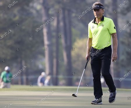 Stock Image of Bernhard Langer of Germany on the third green during the first round of the 2021 Masters Tournament at the Augusta National Golf Club in Augusta, Georgia, USA, 06 April 2021. The 2021 Masters Tournament is held 08 April through 11 April 2021.