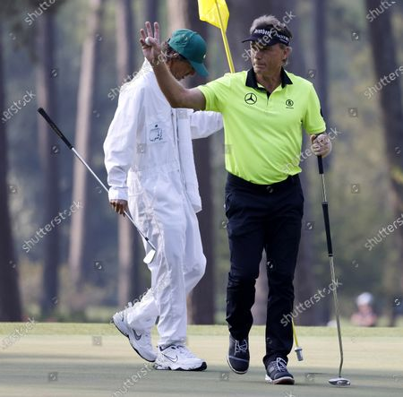 Bernhard Langer of Germany on the third green during the first round of the 2021 Masters Tournament at the Augusta National Golf Club in Augusta, Georgia, USA, 06 April 2021. The 2021 Masters Tournament is held 08 April through 11 April 2021.