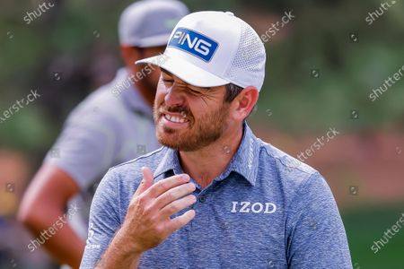 Louis Oosthuizen of South Africa reacts at the seventh green during the first round of the 2021 Masters Tournament at the Augusta National Golf Club in Augusta, Georgia, USA, 08 April 2021.