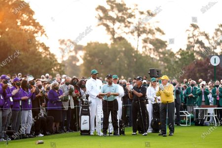 Lee Elder, the first Black man to play in the Masters Tournament, is introduced as Gary Player and Jack Nicklaus applaud before the ceremonial tee shot to start the 2021 Masters Tournament at the Augusta National Golf Club in Augusta, Georgia on Thursday, April 8, 2021. Photo by Kevin Dietsch/UPI
