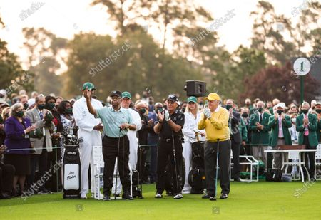 Stock Picture of Lee Elder, the first Black man to play in the Masters Tournament, is introduced as Gary Player and Jack Nicklaus applaud before the ceremonial tee shot to start the 2021 Masters Tournament at the Augusta National Golf Club in Augusta, Georgia on Thursday, April 8, 2021. Photo by Kevin Dietsch/UPI
