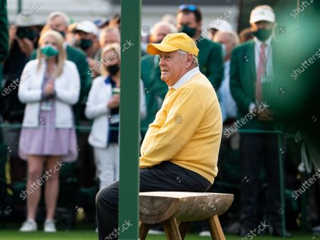 Jack Nicklaus sits before the ceremonial tee shot to start the 2021 Masters Tournament at the Augusta National Golf Club in Augusta, Georgia on Thursday, April 8, 2021.