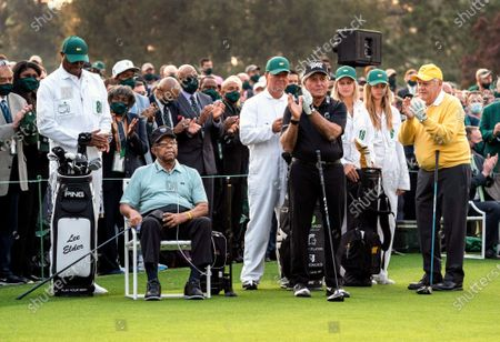 Honorary starters Lee Elder (L), the first Black man to play in the Masters, Gary Player (C) and Jack Nicklaus are introduced before the ceremonial tee shot to start the 2021 Masters Tournament at the Augusta National Golf Club in Augusta, Georgia on Thursday, April 8, 2021.