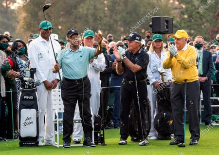 Lee Elder, the first Black man to play in the Masters Tournament, is introduced as Gary Player and Jack Nicklaus applaud before the ceremonial tee shot to start the 2021 Masters Tournament at the Augusta National Golf Club in Augusta, Georgia on Thursday, April 8, 2021.