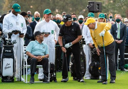 Lee Elder, the first Black man to play in the Masters Tournament, talks to Gary Player and Jack Nicklaus before the ceremonial tee shot to start the 2021 Masters Tournament at the Augusta National Golf Club in Augusta, Georgia on Thursday, April 8, 2021.