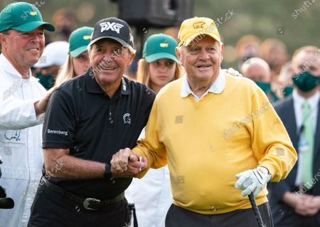 Gary Player and Jack Nicklaus embrace before hitting the ceremonial tee shot to start the 2021 Masters Tournament at the Augusta National Golf Club in Augusta, Georgia on Thursday, April 8, 2021. Photo by Kevin Dietsch/UPI