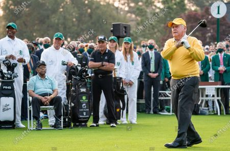 Jack Nicklaus prepares to his a ceremonial tee shot as Gary Player and Lee Elder watch before the start of the 2021 Masters Tournament at the Augusta National Golf Club in Augusta, Georgia on Thursday, April 8, 2021. Photo by Kevin Dietsch/UPI