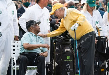 Jack Nicklaus talks to Lee Elder, the first Black man to play the Masters Tournament, at the start of the 2021 Masters Tournament at the Augusta National Golf Club in Augusta, Georgia on Thursday, April 8, 2021. Photo by Kevin Dietsch/UPI