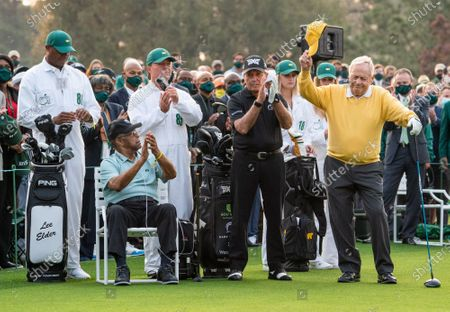 Jack Nicklaus is introduced as Gary Player and Lee Elder applaud before hitting the ceremonial tee shot to start the 2021 Masters Tournament at the Augusta National Golf Club in Augusta, Georgia on Thursday, April 8, 2021. Photo by Kevin Dietsch/UPI