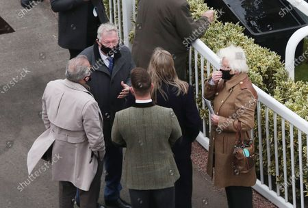 Former Manchester United's manager Sir Alex Ferguson (C) on Liverpool's NHS Day at the Grand National Festival at the racecourse in Aintree, Britain, 08 April 2021.