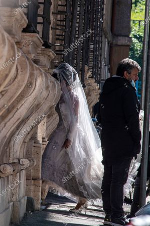 Stock Picture of Lady Gaga spotted on the set of The House of Gucci in Rome today. The wedding of patrizia Reggiani and maurizio Gucci at Campitelli Church in Rome