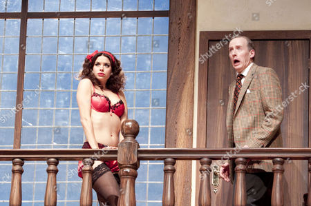 'Noises Off' - Djalenga Scott (Brooke Ashton), Andrew Havill (Garry Lejeune)