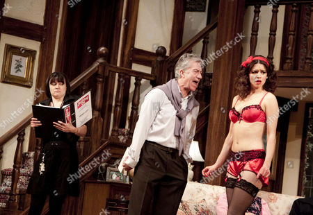 'Noises Off' -  Louise Shuttleworth (Poppy Norton-Taylor), Brian Protheroe (Lloyd Dallas), Djalenga Scott (Brooke Ashton)