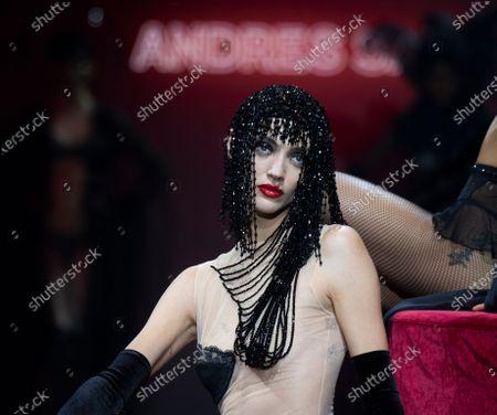 Model Neus Bermejo poses a creation of the Spanish fashion designer Andres Sarda