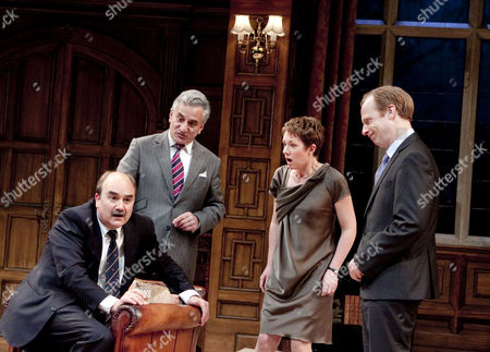 'Yes, Prime Minister' - David Haig (Jim Hacker, Prime Minister), Henry Goodman (Sir Humphrey Appleby), Emily Joyce (Claire Sutton), Jonathan Slinger (Bernard Woolley)